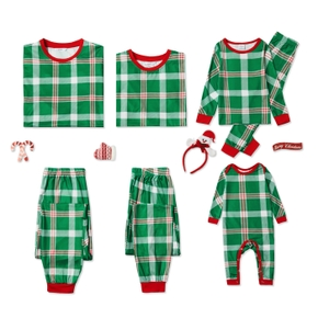 Christmas Green Plaid Family Matching Pajamas Sets