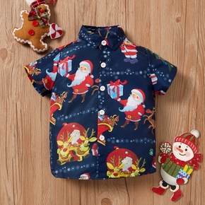 Baby / Toddler Boy Christmas Santa Claus Elk Snowflake Pattern Short-sleeve Shirt