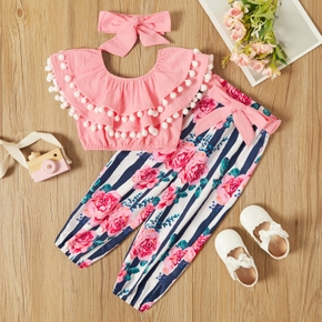 Toddler Girl 100% Cotton Ruffle Collar Pompom Decor Top and Floral Print Pant with Waistband