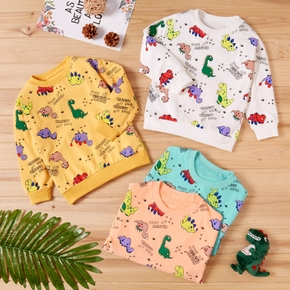 Baby / Toddler Letter Cartoon Dinosaur Print Long-sleeve Pullover