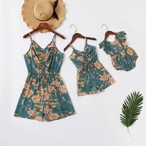 Mommy and Me Floral Print Short Tank Rompers