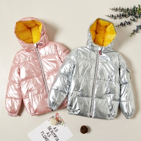 Stylish Reflected Zipper Hooded Down Coats