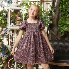 Pretty Kid Girl Floral Smocking Highwaist Dress