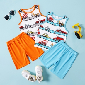 Vehicle Print Tank Top and Shorts Athleisure Set for Toddlers/Kids