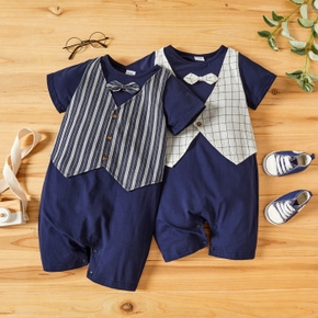 Stripe or Plaid Print Faux-two Short-sleeve Baby Romper