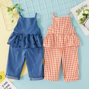 Baby Girl Plaid straight Solid Cute Cotton Boho Jumpsuits
