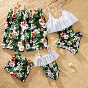 Solid Flounce Stitching Floral Print Hollow Out One-piece Family Swimsuits