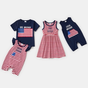 Independence Day Series Striped Letter Print Cotton Sibling Sets