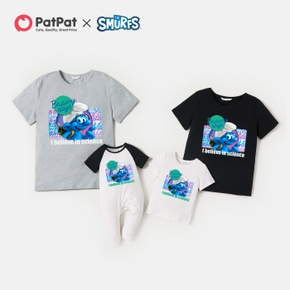 Smurfs 'Brainy Days' Print Cotton Family Matching Tee and Romper