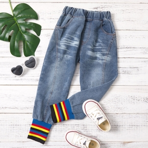 Toddler Girl  Casual Solid Ribbing Trousers Jeans