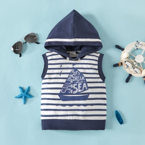 1pcs Baby Boy Sleeveless Stripes Letter Sailboat Print Cotton Tops Hoodies