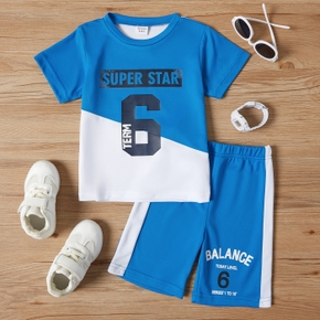 Letter Number Color Block Tee and Shorts Athleisure Set for Toddlers/Kids