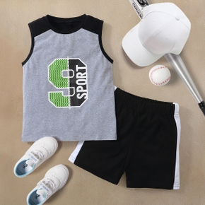 Number Print Tank Top and Shorts Athleisure Set for Toddlers / Kids