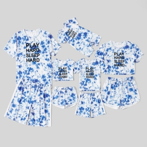 Tie Dye Letter Print Summer Family Matching Pajamas Set (Flame Resistant)