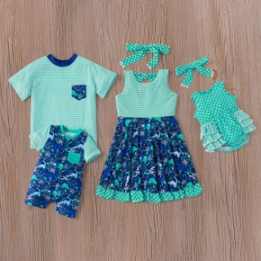 Mosaic Summer New Family Matching - Sibling Dinosaur Stripe Polka Dots Dresses Tee Romper for Girl - Boy - Baby