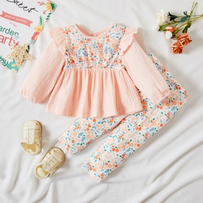 2-piece Baby Girl Ruffled Long-sleeve Stitching Floral Print Top and Elasticized Pants Set