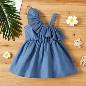 1pc Baby Girl One Shoulder Ruffled Cotton Denim Dress
