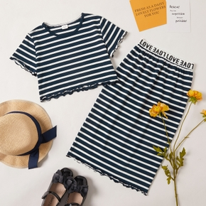 Fashionable Kid Girl Striped Skirt Set