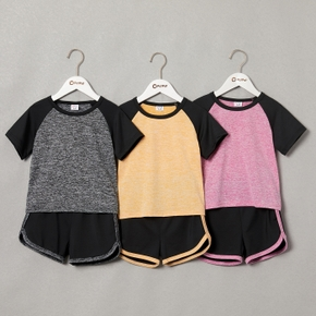 Contrast top and Shorts Athleisure Set for Toddlers and kids