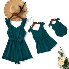 Solid Sleeveless Matching Peacock Blue Sling Shorts Rompers