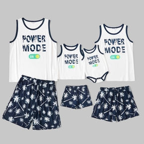 Family Matching Letter Print Tank Top and Coconut Tree Shorts Pajamas Set(Flame Resistant)