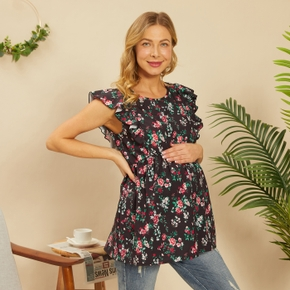 Sleeveless Floral Print Maternity Nursing Top