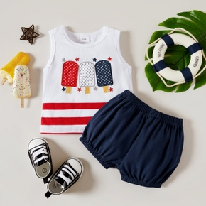 2pcs Baby Boy Ice-Cream Cotton Short-sleeve Summer Top Solid Shorts Baby Sets
