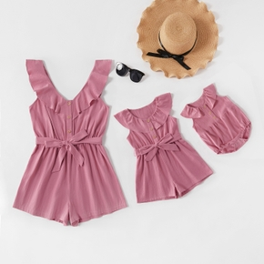 100% Cotton Solid Pink Matching Ruffle Neck Shorts Rompers