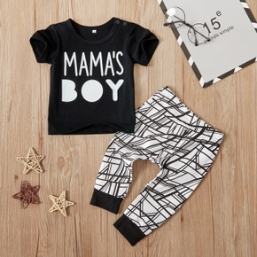 Baby Boy Fashionable MAMA'S BOY Print Tee and Pants Set