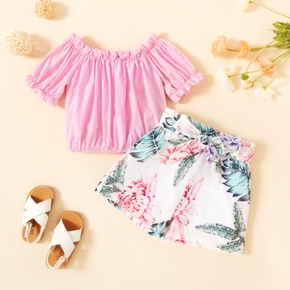 2-piece Toddler Girl Casual Top and Floral Print Skirt Set