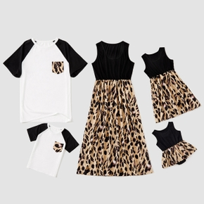 Leopard Splice Series Family Matching Sets(Tank Dresses for Mom and Girl ; Raglan Sleeves T-shirts for Dad and Boy)