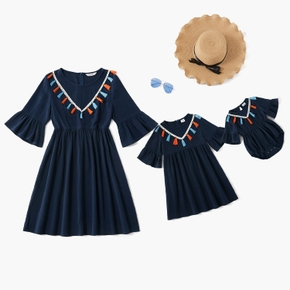 100% Cotton Midi-sleeve Matching Navy Mini Dresses