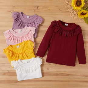Toddler Girl Solid Ruffled Lace Collar Long-sleeve Tee