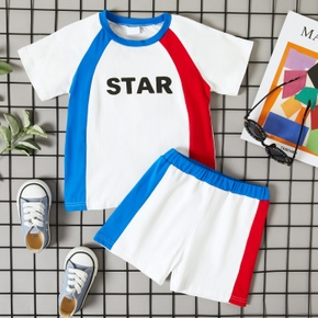 2-piece Toddler Boy Sporty Splice Tee and Shorts Set