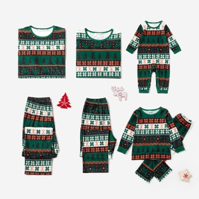 Christmas Tree and Snowflake Print Matching Pajamas Sets for Family (Flame Resistant)