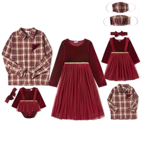 Mosaic Family Matching Red Series Sets(Net Yarn Dresses - Plaid Button Front Shirts - Masks)