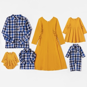 Mosaic Family Matching  Cotton Autumn&Winner Sets(V-neck Dresses - Plaid Button Front Shirts - Rompers)