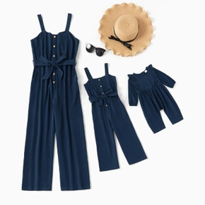 100% Cotton Navy Blue Matching Sling Jumpsuits