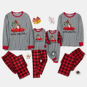 Family Matching ' Santa Driving Red Car ' Plaid Christmas Pajamas Sets (Flame Resistant)
