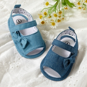Baby / Toddler Solid Denim Bowknot Velcro Closure Sandals