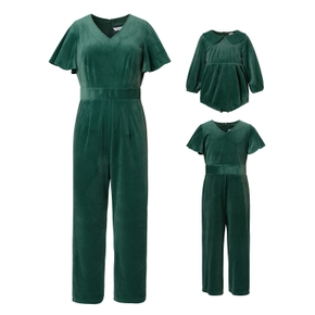 Solid Short-sleeve Jumpsuits for Mommy and Me