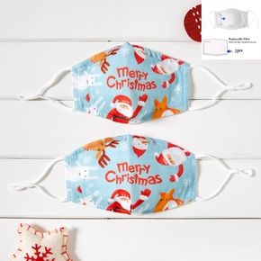 Merry Christmas Santa Printed 3-Layer Protective Anti Dust Breathable Family Mask (Include Two Replaceable Filters)