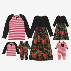 Mosaic Family Matching Spring Series Sets(Floral Dresses - Stripe Raglan Sleeves T-shirts - Rompers)