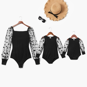 Mommy and Me Star Mesh Long-sleeve Rompers