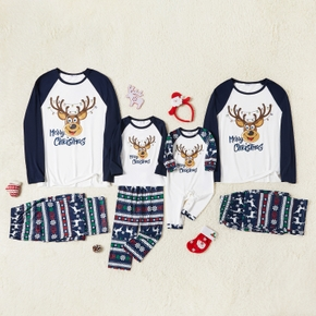 Family Matching Deer Print Christmas Pajamas Sets(Flame resistant)