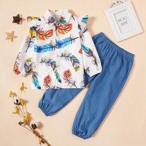 Toddler Girl Floral Top and Denim Pants Set