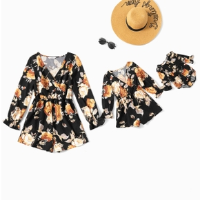 Floral Print Long-sleeve Matching Shorts Rompers