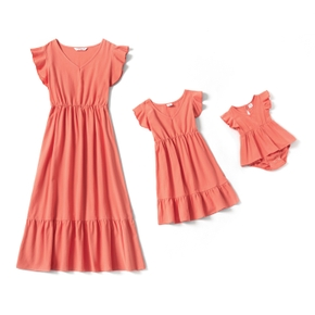 Mosaic 100% Cotton Coral Red Matching Midi Dresses