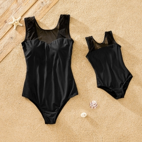 Net Yarn Black Matching Swimsuits for Mom and Me