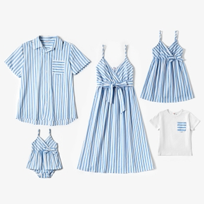 Mosaic Blue and White Stripe Family Matching Sets